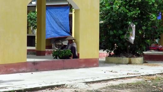 Hàng ngày cụ bà vẫn ngồi ở một góc nhà để bán rau