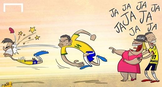 Thiago Silva ném Neymar như để trừng phạt sai lầm dẫn đến án treo giò. Trung vệ mang áo số 14 này là người lập công trong trận thắng Venezuela và chứng minh rằng Brazil vẫn có thể ghi bàn khi thiếu Neymar. Tuy nhiên, hôm qua đội bóng áo vàng xanh đã bị Paraguay loại ở tứ kết.