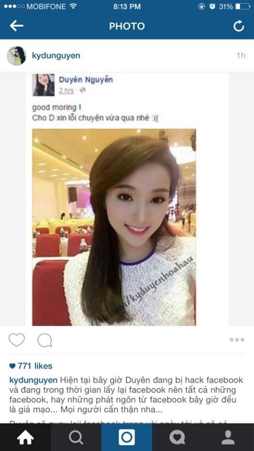 Kỳ Duyên cảnh báo fans trên instagram cá nhân của mình vì facebook của cô đang bị hack. - Tin sao Viet - Tin tuc sao Viet - Scandal sao Viet - Tin tuc cua Sao - Tin cua Sao