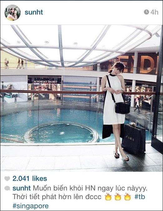 TrờiHà Nộiđang phải chịu những ngày nắng nóng tới khó chịu.Sun Ht chia sẻ bức hình chụp tạiSingapore lên trang Instagram cá nhân với mong muốn có thể được đi 'trốn nắng nóng' trong ngày hè oi ả này.