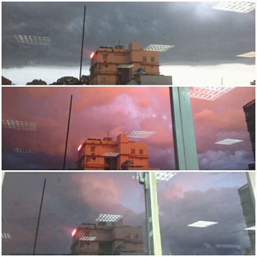 Chỉ sau vài giây nhưng bầu trời đã thay đổi nhanh đến chóng mặt khiến ai cũng đều phải 'hú hồn' pha chút thú vị. (FB Huỳnh Thanh Trâm)