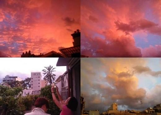 Cả một bầu trời đỏ rực lên, và mọi người đều tranh thủ chụp lại khoảnh khắc này. (FB Thien Dang)