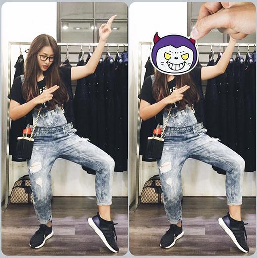Khả Ngânlại kín đáo nhưng không kém phần trẻ trung khi diện quần yếm dài với chất liệu jeans.