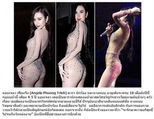 Vượt qua biên giới Việt Nam, những hình ảnh khá phản cảm của Angela Phương Trinh khi cô đang biểu diễn trong một quán bar được báo chí Thái Lan đăng tải. Trong đó, không ít lời chê bai đã được dành cho bà mẹ nhí. - Tin sao Viet - Tin tuc sao Viet - Scandal sao Viet - Tin tuc cua Sao - Tin cua Sao