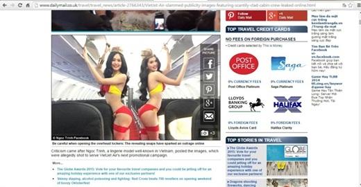 """Ngay sau khi những hình ảnh bị rò rỉ không lâu, vụ việc đã nhận được sự quan tâm của trang Daily Mail (Anh). Trong đó, bài báo có viết: """"Sau khiNgọc Trinh, người mẫu nổi tiếng của Việt Nam, đăng tải những hình ảnh mặc bikini thiết kế theo logo của một hãng hàng không lên trang cá nhân của mình, hãng này đã phải nhận sự chỉ trích gay gắt từ dư luận. Những bức ảnh dàn chân dài tạo dáng khiêu khích ở bên trong và bậc cầu thang của máy bay được cho là hình ảnh trong chiến dịch quảng cáo sắp tới của hãng hàng không này. Nhiều người cho rằng họ đang lợi dụng 'da thịt' phụ nữ để quảng bá thương hiệu của mình"""". - Tin sao Viet - Tin tuc sao Viet - Scandal sao Viet - Tin tuc cua Sao - Tin cua Sao"""