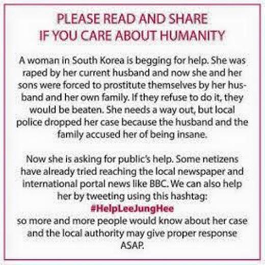 Lời kêu gọi giúp đỡ cho ba mẹ con Lee Jung Hee được chia sẻ liên tục trên mạng