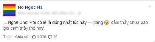 'Nữ hoàng giải trí' Hồ Ngọc Hà đã đăng tải dòng cảm xúc này trên trang cá nhân của mình. Theo như cô chia sẻ thì chắc hẳn Hồ Ngọc Hà đang cảm thấy rất khó khăn và khá chơi vơi. Sau những dòng chia sẻ này, các fans của Hồ Ngọc Hà đã động viên cô rất nhiều.