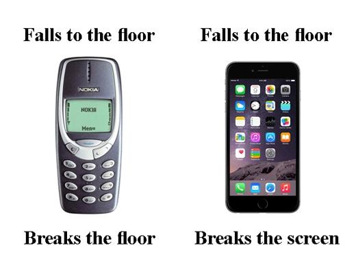 """Điện thoại 'huyền thoại' một thời rơi xuống sàn là """"bể gạch"""". Nhưng điện thoại thời nay rơi xuống là """"bể màn hình""""."""