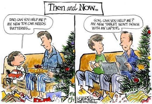 Lúc còn bé, bố giúp con sửa đồ chơi. Khi lớn lên, con chỉ bố sử dụng Ipad!