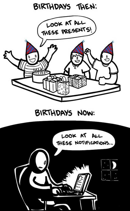 Hồi xưa nhận được rất nhiều quà trong ngày sinh nhật. Nhưng, ngày nay chỉ là những dòng thông báo chúc mừng trên mạng xã hội.