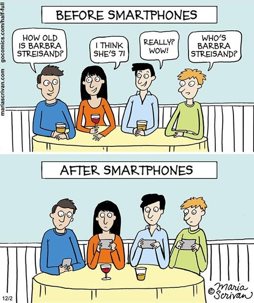 """Tụ họp bạn bè """"thời đại công nghệ cao"""": mỗi người một chiếc điện thoại, không ai trò chuyện với ai."""