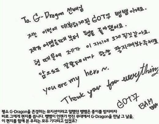 Bức thư Bambam gửi G-Dragon thời mới ra mắt.