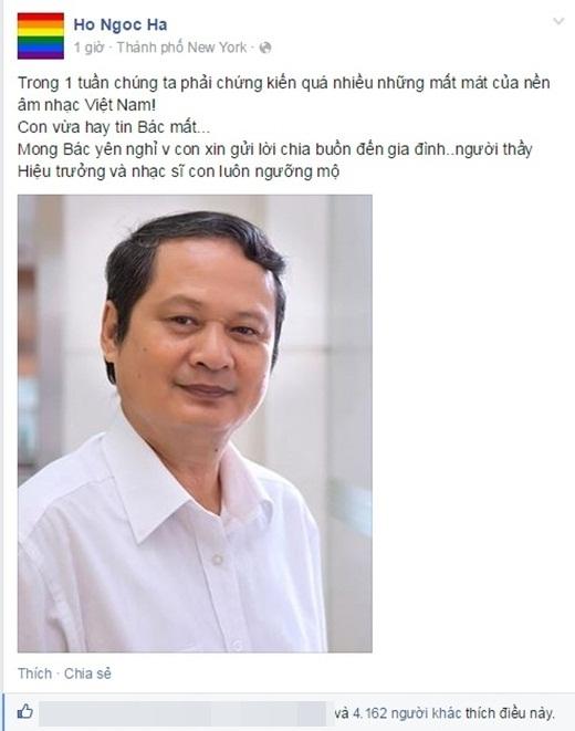Hồ Ngọc Hà gửi lời tiếc thương sâu sắc tới gia đình nhạc sĩ An Thuyên. - Tin sao Viet - Tin tuc sao Viet - Scandal sao Viet - Tin tuc cua Sao - Tin cua Sao