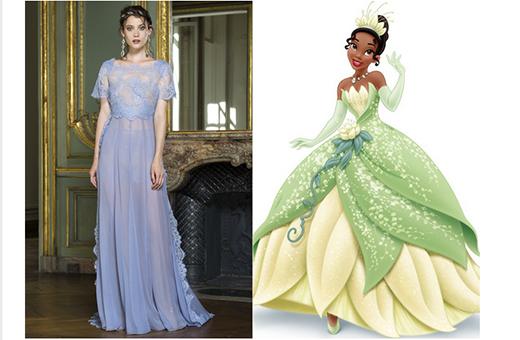 Công chúa Tiana trở nên hiện đại hơn trong chiếc váy suông dài, gọn gàng trên nền chất liệu xuyên thấu kết hợp ren ở phần thân trên với màu tím xanh của hoa oải hương. Mặc dù trong phim, công chúa Tiana không diện bộ váy có màu sắc này nhưng chắc chắn cũng sẽ rất đáng yêu.