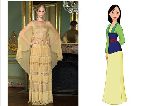 Chất liệu ren cùng kiểu áo choàng cape và cấu trúc phân tầng sẽ giúp các cô gái trở thành nàng Mulan xinh đẹp.
