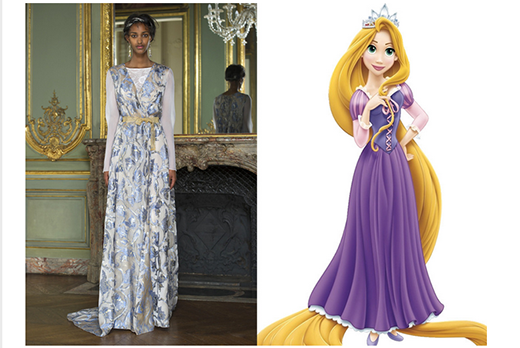 Váy dài tay in hoa trên nền chất liệu vải bóng cùng chi tiết ruy băng thắt eo được ví von như chiếc váy của nàng công chúa tóc mây Rapunzel.