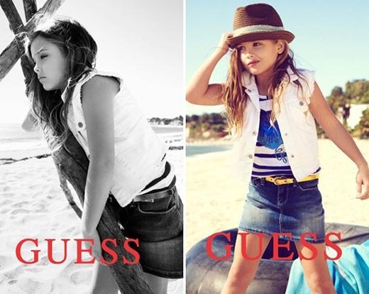 Dannielynn Birkhead, cô bé 6 tuổi con gái của Anna Nicole Smith và Larry Birkhead đã theo gót mẹ trong sự nghiệp người mẫu. Thừa hưởng sự chuyên nghiệp từ mẹ thể hiện rõ nét qua từng shoot ảnh, cô bé hiện đang là gương mặt đại diện cho nhãn hàng trẻ em Guess Kids.