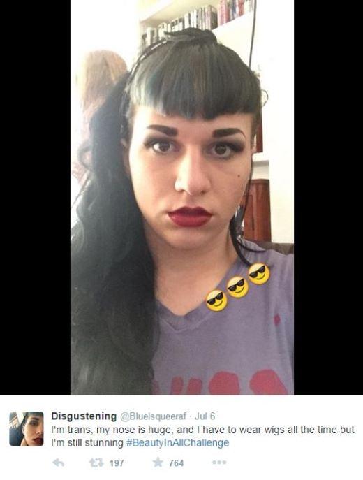 """""""Tôi là người chuyển giới. Mũi tôi to và tôi phải đeo tóc giả thường xuyên nhưng tôi vẫn luôn xinh đẹp.#BeautyinAllChallenge'."""