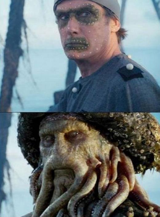 Còn đây là khuôn mặt của nhân vậtcủa Davy Jones trong phim Pirates of the Caribbean