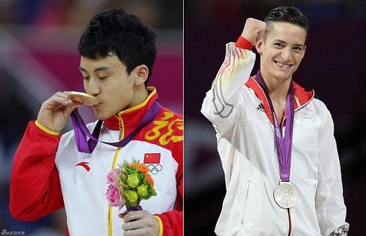 """Feng Zhe (trái):""""Tôi đã phải dành tận 20 phút để chăm chút đầu tóc trước khi thi đấu vì hôm nay đối thủ của tôi là một vận động viên Đức cực kỳ đẹp trai và tôi không hề muốn xấu xí hơn anh ta đâu""""."""