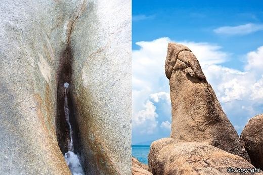 ... còn là những mỏm đá có hình thù nhạy cảm.