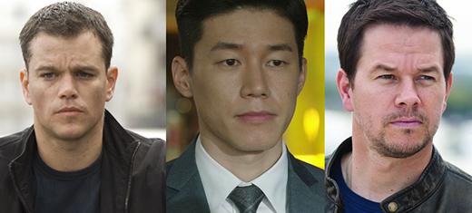Kim Moo Yeolđược cho rằng sở hữu nhan sắc của Matt Damon (bên trái) và Mark Wahlberg (bên phải) cộng lại