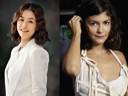 'Bà mẹ một con' Kang Hye Jung và Audrey Tatou với nét đẹp hiện đại pha chút cổ điển. Mái tóc ngắn xoăn nhẹ của cả hai đều khiến khán giả không thể rời mắt.