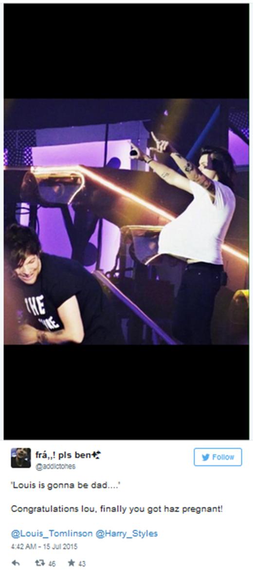 'Louis sẽ trở thành bố... Chúc mừng Lou, cuối cùng bạn cũng đã làm Harry mang bầu rồi!'