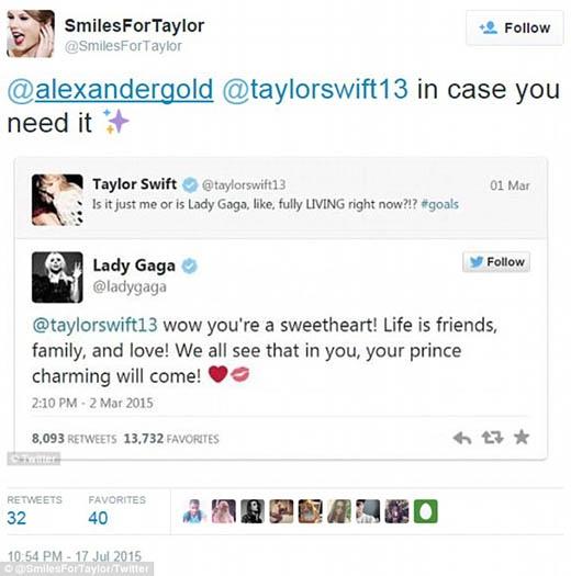 Taylor và Gaga trao đổi với nhau trên trang xã hội vào tháng 3.