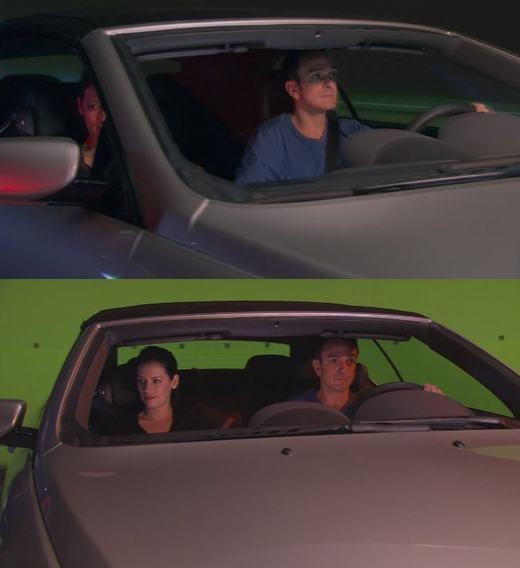 Đây là cảnh trong phim Driving Reel. Trong phim là chiếc xe đang chạy với tốc độ cao nhưng, thực chất nó chỉ đứng yên trong trường quay.