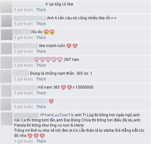 Những bình luận đáng yêu có phần vui nhộn mà các fans của 365 để lại trên trang cá nhân của Isaac. - Tin sao Viet - Tin tuc sao Viet - Scandal sao Viet - Tin tuc cua Sao - Tin cua Sao