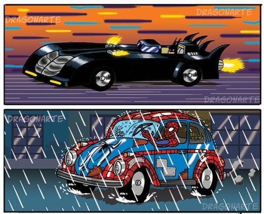 Sự khác biệt khi đi lại của Spiderman và Batman.