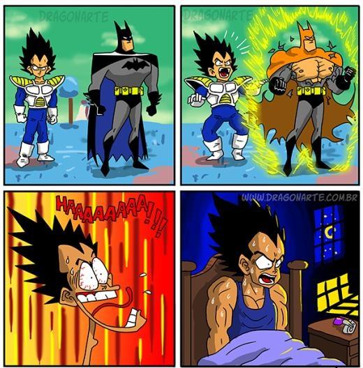 Không chỉ Son Goku, Vegeta còn thua kém cả Batman khi chưa thể biến thành siêu Sayan. Rất may đó chỉ là một cơn ác mộng!
