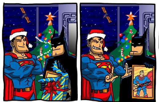 Khi Superman tặng quà giáng sinh cho Batman.