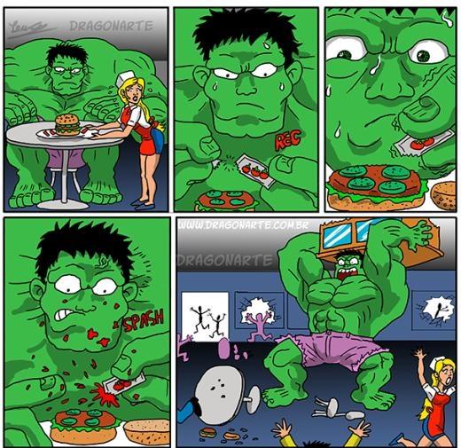 Khi Hulk ăn bánh mì kẹp thịt.