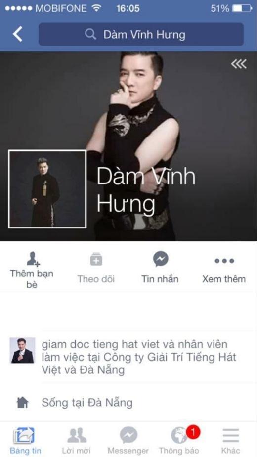 Trang facebook giả mạo có tên và ảnh cá nhân rất giống với trang cá nhân chính thức của Đàm Vĩnh Hưng. - Tin sao Viet - Tin tuc sao Viet - Scandal sao Viet - Tin tuc cua Sao - Tin cua Sao