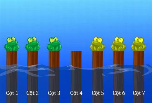 Câu 10:Có 6 con ếch và 7 cái cột, làm thế nào để đổi chỗ 6 con ếch đó, biết rằng ếch không thể nhảy lùi và 2 con ếch không thể cùng chung 1 cột. Ngoài ra, mỗi con ếch chỉ có thể nhảy xa nhất là 2 cột.