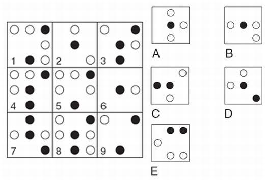 Câu 8:Qui luật là nếu hai ô hình đầu tiên hợp với nhau để tạo thành hình thứ 3, trừ trường hợp các kí hiệu giống nhau sẽ triệt tiêu nhau khi kết hợp. Vậy ô nào đã sai qui luật và cần thay thế bằng đáp án nào?
