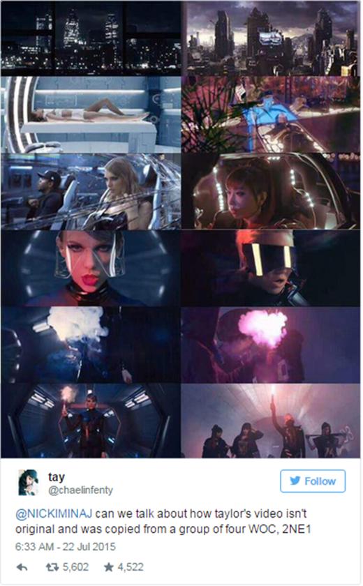 Một fan của Nicki đã thẳng thừng 'tố' Taylor đạo ý tưởng.