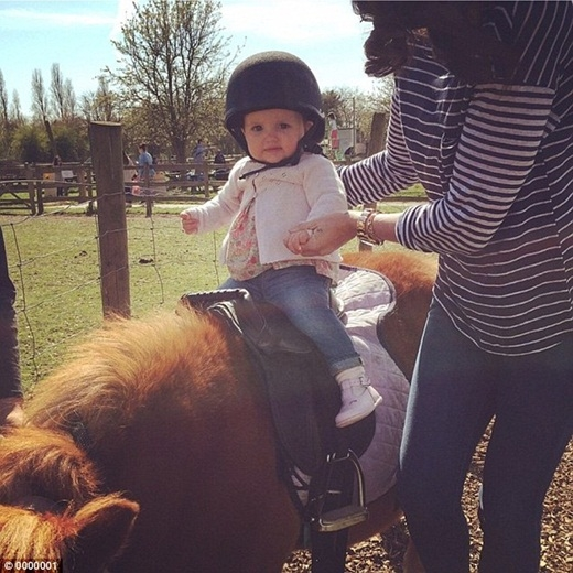 Khi được 11 tháng tuổi, cô bé Sophia đã có trải nghiệm cưỡi ngựa lần đầu tiên.