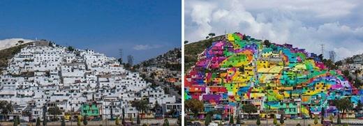 Bộ mặt mới của Palmitas sau khi được phủ sơn khắp toàn bộ thị trấn.