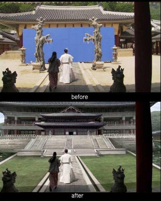 Hình ảnh cung điện nguy nga tráng lệ thực chất chỉ là một sản phẩm đồ họa máy tính. Trong cảnh quay này, kĩ xảo phông nền xanh đã được áp dụng.