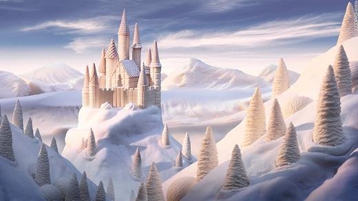 Lâu đài tuyết với bốn bề xung quanh trắng xóa.