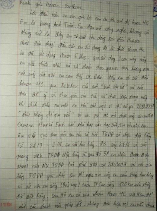 """Bức """"tâm thư"""" của Vương Anh Tuấn gửi đến Honor Việt Nam."""