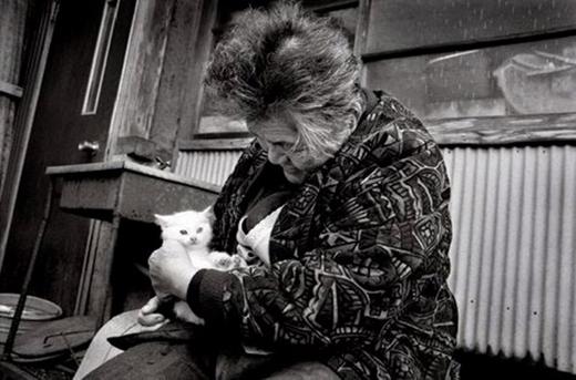 Từ lúc nhận nuôi chú mèo, bà đã có một người bạn mới.