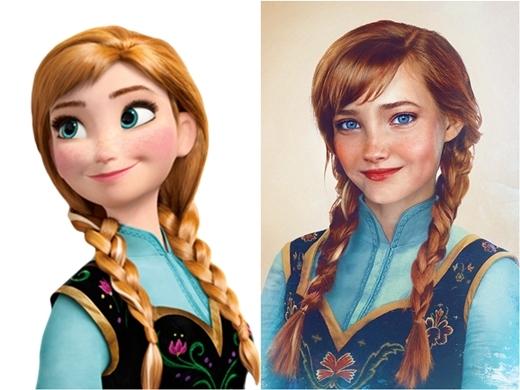 Anna trong Frozen với nụ cười lém lỉnh và đôi mắt thông minh.