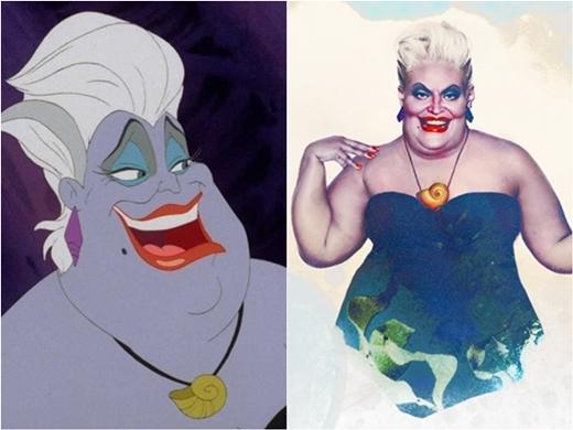 Mụ phù thủy Ursulla cũng 'bon chen' vào danh sách mĩ nhân Disney.
