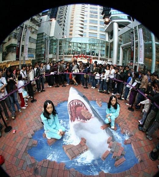 Hiện nay, những bức tranh 3D đường phố xuất hiện ở châu Á vẫn khá hiếm hoi.