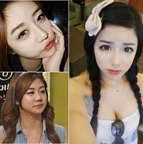 Ulzzang đình đám Lee He Kyung lộ mặt thật chưa trang điểm (ảnh dưới bên trái) khi tham gia một chương trình truyền hình tạiHàn Quốc.
