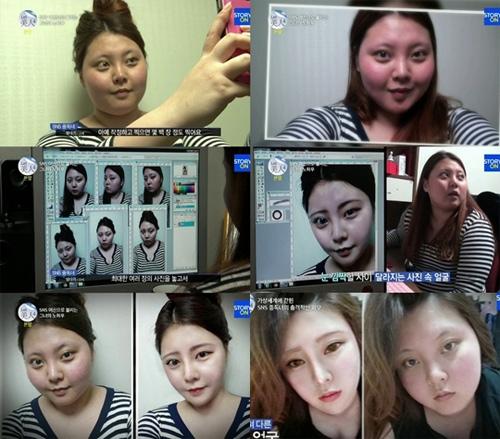 Sự khác biệt rõ ràng trước và sau khiDa Heedùng photoshop để chỉnh ảnh. Sau khi tiết lộ sự thật trên truyền hình, Uhm Da Hee đã được một cơ sở phẫu thuật thẩm mĩ tài trợ, và tạo cho cô một diện mạo hoàn toàn mới bằng việc hỗ trợ giảm cân.